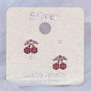 Lovely Red Cherry Stud Earrings